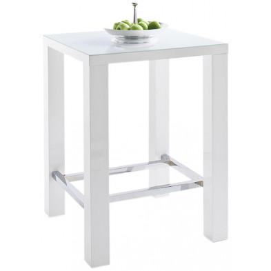 Table de bar blanc carré design en bois mdf laqué avec un verre trempé de 5mm  L. 80 x P. 80 x H. 107 cm collection Wellsville