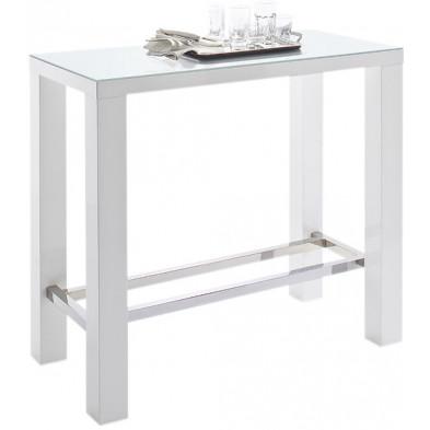 Table de bar blanc rectangle design en bois mdf laqué avec un verre trempé de 5mm L. 60 x P. 120 x H. 107 cm collection
