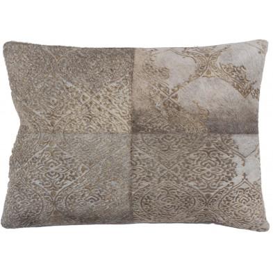 Coussin et oreiller gris vintage tissé à la main en 50% cuir véritable et 50% polyester L. 60 x P. 40 x H. 0 cm collection Breanais