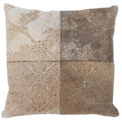 Coussin et oreiller beige vintage tissé à la main en 50% cuir véritable et 50% polyester L. 45 x P. 45 x H. 0 cm collection Breanais