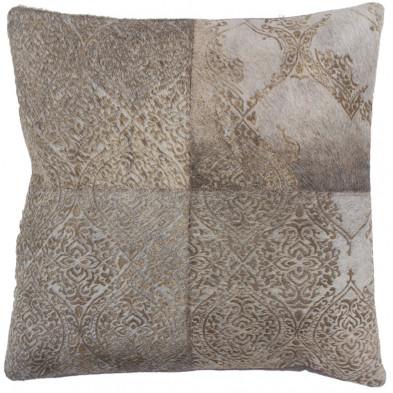 Coussin et oreiller gris vintage tissé à la main en 50% cuir véritable et 50% polyester L. 45 x P. 45 x H. 0 cm collection Breanais