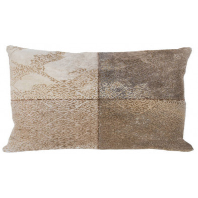 Coussin et oreiller beige vintage tissé à la main en 50% cuir véritable et 50% polyester L. 60 x P. 40 x H. 0 cm collection Breanais