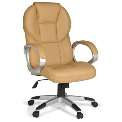 Chaise et fauteuil de bureau beige design en PVC L. 63 x P. 57 x H. 107 - 115 cm collection Cugnon
