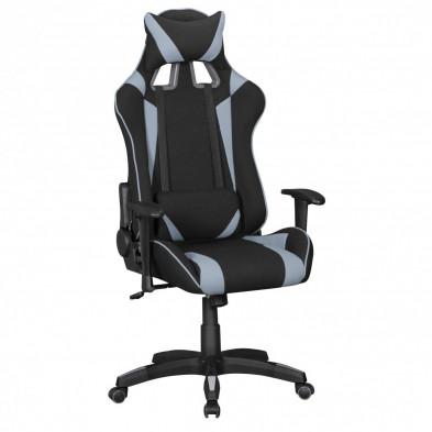 Chaise de bureau Gamer design en tissu coloris noir et gris L. 70 x P. 70-100 x H. 130 - 140 cm collection C-Ajlec