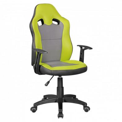 Chaise de bureau gamer gris design en polyester L. 42 x P. 42 x H. 90 - 100 cm collection Mibenwilhams