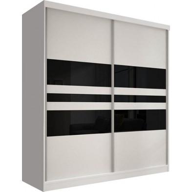 Armoire porte coulissante blanc design en panneaux de particules de haute qualité L. 183 x P. 61 x H. 218 cm collection Elisa