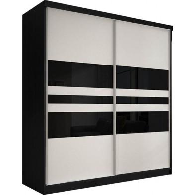 Armoire porte coulissante noir design en panneaux de particules de haute qualité L. 183 x P. 61 x H. 218 cm collection Elisa