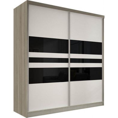 Armoire porte coulissante marron design en panneaux de particules de haute qualité L. 183 x P. 61 x H. 218 cm collection Elisa