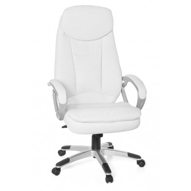 Chaise de bureau gamer blanc design en pvc L. 67 x H. 116 - 128 cm x P.58 cm collection Villaflores