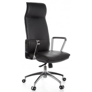Chaise et fauteuil de bureau noir design en cuir véritable L. 54 x H. 118 - 127 cm x P.54 cm  collection Vivy