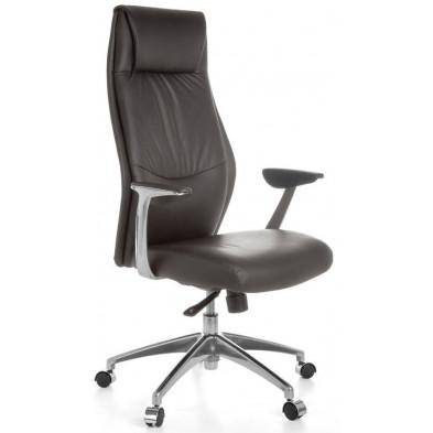 Chaise et fauteuil de bureau marron design en cuir véritable L. 58 x H. 117 - 125 cm x P. 58 cm collection Aziza