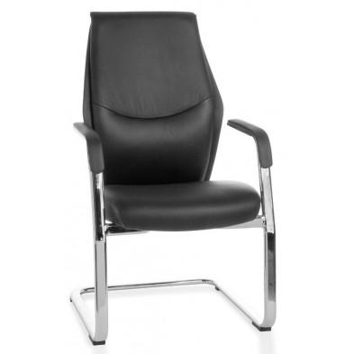 Chaise de bureau noir design en cuir véritable L. 65 x H. 100 cm x P.65 cm collection Aziza
