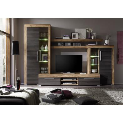 Ensemble meuble TV  avec 1 banc TV + 2 vitrines et 1 étagère coloris chêne noyer et brun foncé  L. 308 x P. 50 x H. 210 cm collection Vanzuijlen