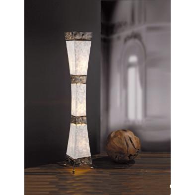 Lampadaire marron en tissu nacré L. 23 x P. 23 x H. 150 cm collection Eli