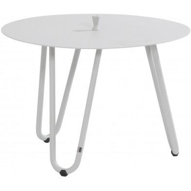 Table d'appoint de jardin design blanc en aluminium L. 60 x H. 40 cm x 60 cm Collection Jamal
