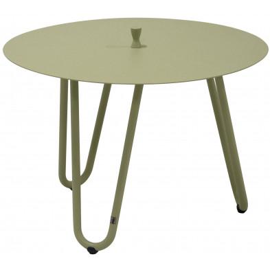Table d'appoint de jardin design vert en aluminium L. 60 x H. 40 cm x P. 60 cm Collection Jamal