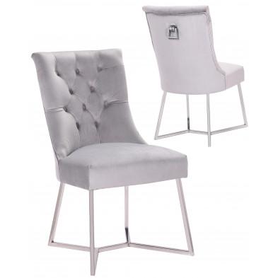 Lot de 2 Chaises de salle à manger design capitonné revêtement en velours gris clair et piètement en acier inoxydable argenté  collection BARI