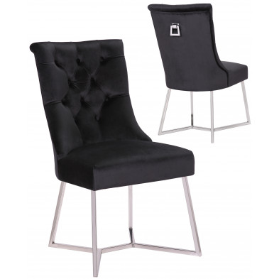 Lot de 2 Chaises de salle à manger design capitonné revêtement en velours noir et piètement en acier inoxydable argenté  collection BARI