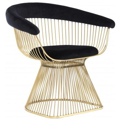 Fauteuil design revetement en velour noir et piètement en acier inoxydable poli doré collection Fenda