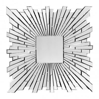 Miroir mural argenté design effet 3D L. 100 x P. 2,5 x H. 100 cm collection Crispano