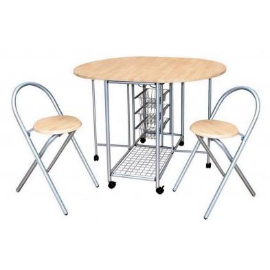 Ensemble de table de cuisine avec ses 2 chaises pliables en hêtre et métal coloris hêtre clair et gris L. 110 x P. 84 x H. 79.5 cm collection Vanbentem