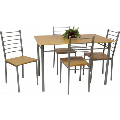 Ensemble de table à manger avec ses 4 chaises en MDF et métal coloris naturel L. 120 x P. 75 x H. 76 cm collection Alajero