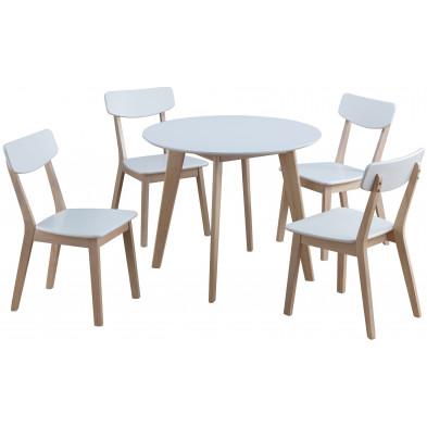 Ensemble de table à manger avec ses 4 chaises en MDF et bois hévéa coloris blanc L. 90 x P. 90 x H. 75 cm collection Snap