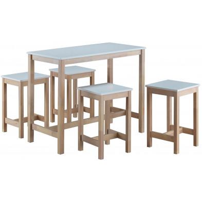 Ensemble de table de bar avec ses 4 tabourets en MDF et bois massif coloris blanc et naturel  L. 120 x P. 60 x H. 96 cm collection Derby