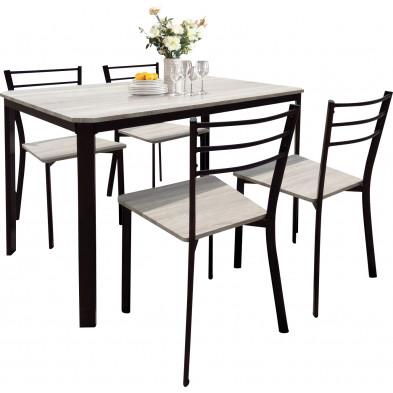 Ensemble de table à manger avec ses 4 chaises en MDF et métal coloris chêne et noir L. 110 x P. 70 x H. 75 cm collection Pasadena