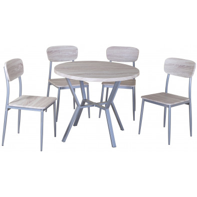 Ensemble de table à manger ronde avec ses 4 chaises en MDF et métal coloris chêne sonoma L. 90 x P. 90 x H. 75 cm collection Scheid