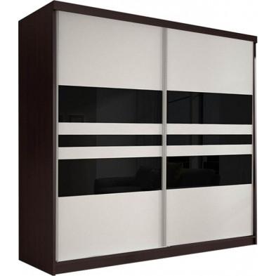 Armoire porte coulissante marron design en panneaux de particules de haute qualité L. 203 x P. 61 x H. 218 cm collection Elisa