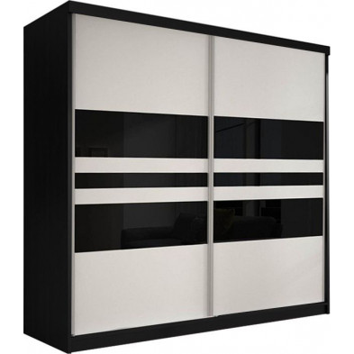 Armoire porte coulissante noir design en panneaux de particules de haute qualité L. 203 x P. 61 x H. 218 cm collection Elisa