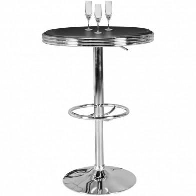 Table de bar gris design en cuir véritable L. 60 x P. 60 x H. 68-92 cm collection Remscheidsud