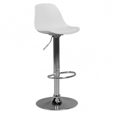 Tabouret de bar blanc L. 40 x P. 40 x H. 84 - 104 cm collection Waldershof