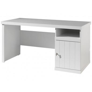 Bureau enfant blanc design en bois mdf L. 150 x P. 70 x H. 75 cm collection Size