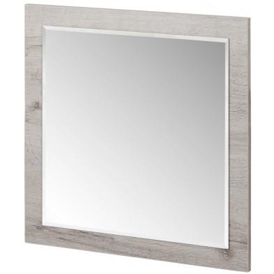 Miroir de salle à manger contemporaine blanc et gris en panneaux de particules mélaminés L. 60 x P. 2 x H. 60 cm Collection Lizette