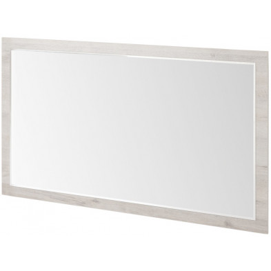 Miroir contemporain blanc en panneaux de particules mélaminés L. 160 x P. 2 x H. 91 cm Collection Vanharmelen