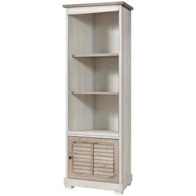 Bibliothèque contemporaine  blanc et gris en bois mdf et panneaux de particules mélaminés L. 74.6 x P. 50 x H. 208.8 cm Collection Stockingford