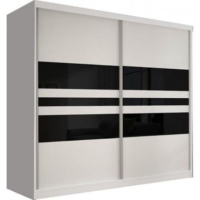 Armoire porte coulissante blanc design en panneaux de particules de haute qualité L. 233 x P. 61 x H. 218 cm collection Elisa