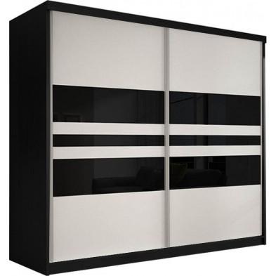 Armoire porte coulissante noir design en panneaux de particules de haute qualité  L. 233 x P. 61 x H. 218 cm collection Elisa