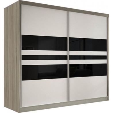 Armoire porte coulissante marron design en panneaux de particules de haute qualité L. 233 x P. 61 x H. 218 cm collection Elisa