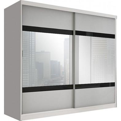 Armoire porte coulissante blanc design en panneaux de particule de haute qualité L. 233 x P. 61 x H. 218 cm collection Elisa