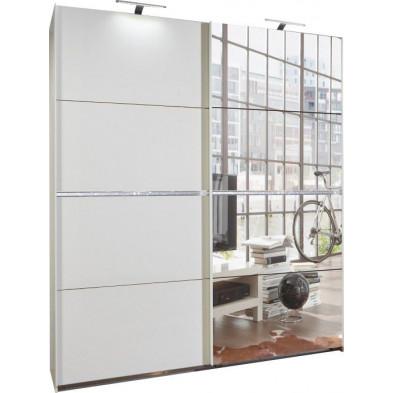 Armoire porte coulissante blanc design en panneaux de particules mélaminés de haute qualité L. 180 x P. 59 x H. 210 cm collection Contest
