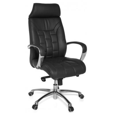 Chaise et fauteuil de bureau noir design en cuir véritable L. 66 x H. 118 - 128 x P.62 cm collection Moye