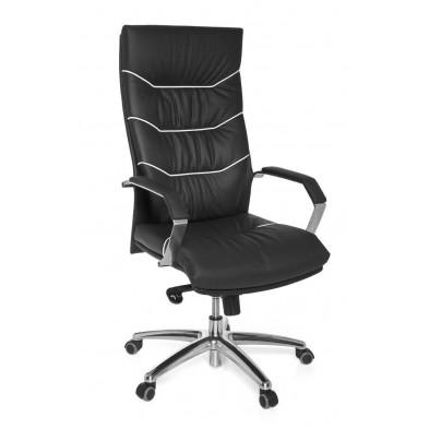 Chaise et fauteuil de bureau noir design en cuir véritable L. 55 x H. 118 - 126 x P.55 cm  collection Felanitx