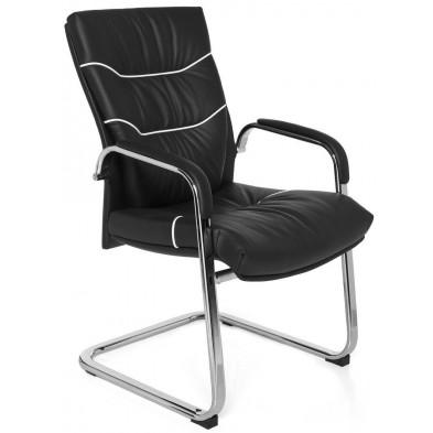 Chaise de bureau noir design en cuir véritable H.98 x L.58 x P.64 cm collection Felanitx