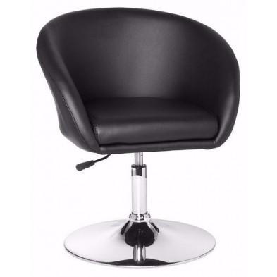 Fauteuil moderne noir design en pvc 1 place L. 55 x P. 62 x H. 72 - 84 cm collection Mosinee