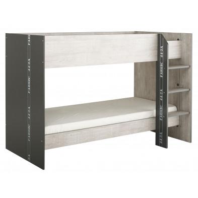 Lit superposé 90x200 cm contemporain gris Collection Enthost