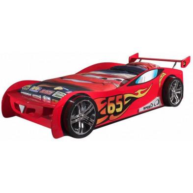 Lit voiture rouge design en bois mdf L. 209 x P. 95 x H. 60 cm collection Huon