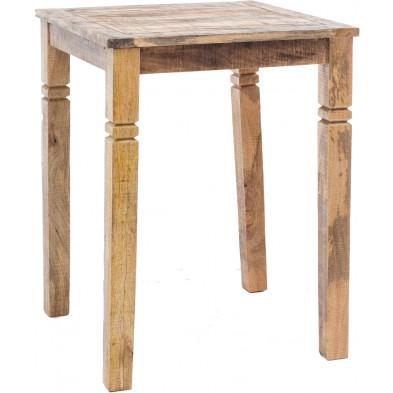 Table de bar marron vintage en bois massif manguier L. 80 x P. 110 x H. 80 cm collection Vankoot